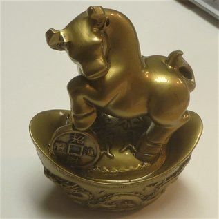 Bronze Ox for good fortune on golden ingot 10x7x13 cm