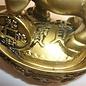 Bronze Ochse für gutes Glück auf Goldbarren ca.10x7x13 cm