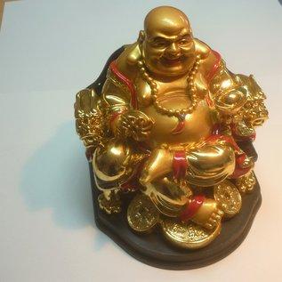 goldener lachender Buddha auf Stuhl 12x13x13cm