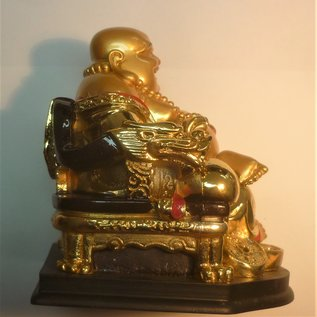 golden laughing Buddha on chair 12x13x13cm