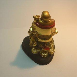 golden laughing Buddha on money frog 7x7,5x9cm