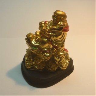 goldener lachender Buddha auf Geldfrosch 7x7,5x9cm