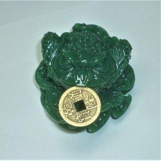 grüner Geldfrosch für Wohlstand und materielles Glück 8x6cm