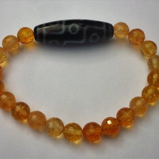"Bracelet Citrine with Dzi "" 9 eyes"" for wealth"