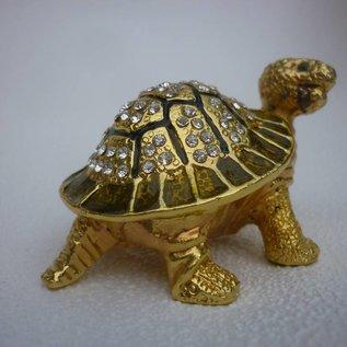edelsteinbesetzte wunscherfüllende goldene Schildkröte ( 8x5x4cm )