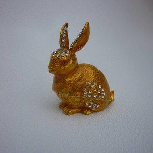 wunscherfüllendes edelsteinbesetztes goldenes Kaninchen (ca.6x3x7cm)