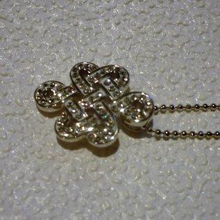 Kette Mystischer Knoten, 925 Silber mit SwarovskiKristallen 2,1 x 1,6cm