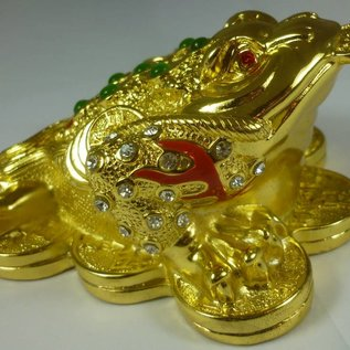 Exquisiter Edelsteinbesetzter Geldfrosch für Wohlstand ca. 9x12x5cm