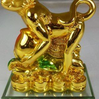 Goldener Affe mit Pfirsich und Ling Zhi für gute Gesundheit ca. 11x7x14cm
