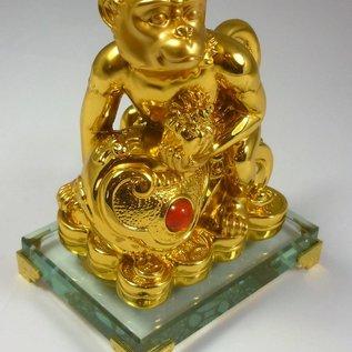 Goldener Affe mit Ru Yi und Siegel für Beförderung und Autoritätssteigerung ca. 11x7x14cm