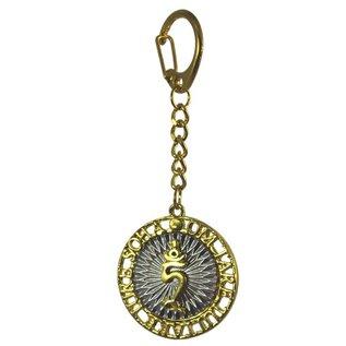 Schlüsselanhänger TAM-Symbol mit dem Mantra der grünen Tara d=4cm , l=11cm