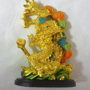 Feng Shui goldener Drachen und Phönix 14x10x6cm