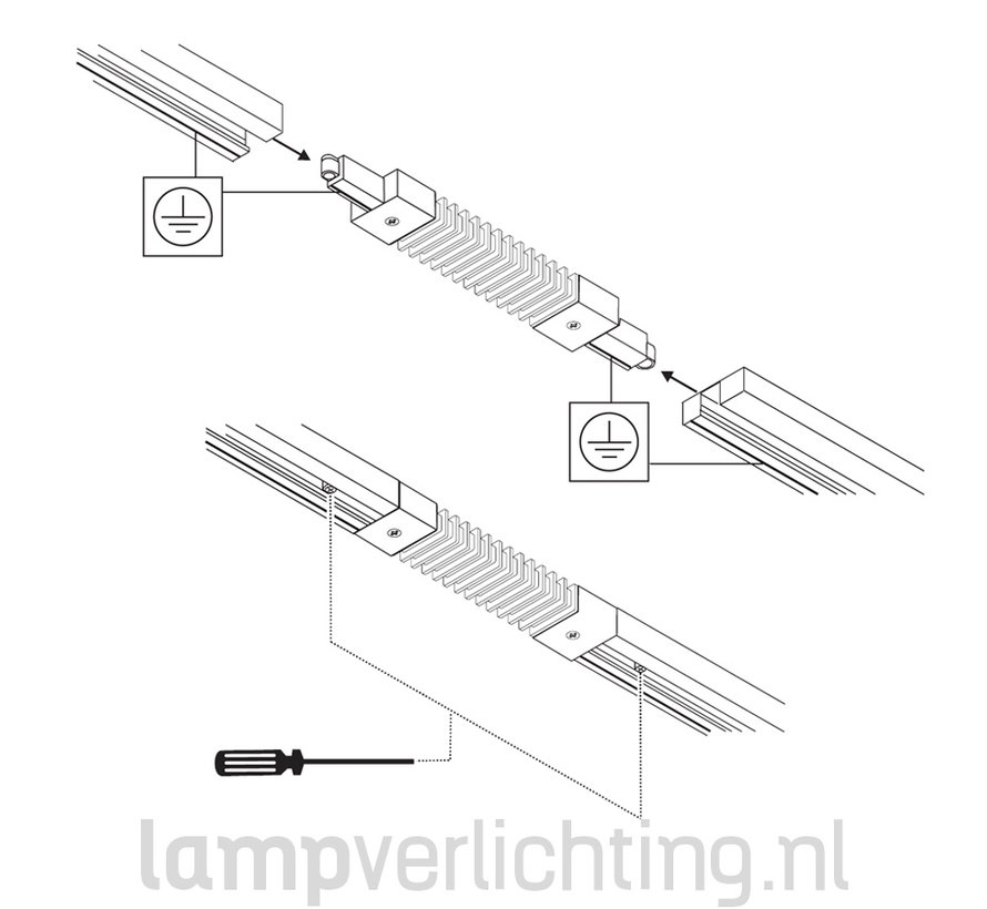 1-Fase Rail Buig Connector
