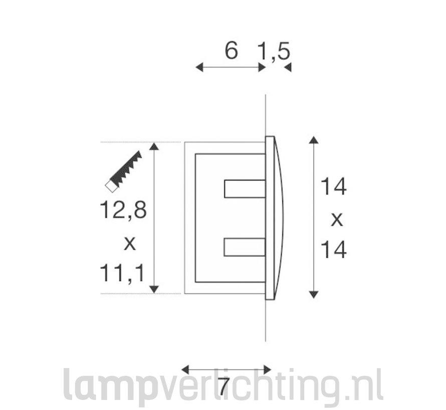 Wand Inbouwspot LED Buiten Vierkant 14x14 cm