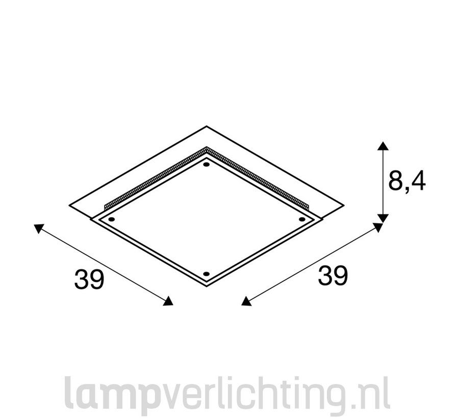 Plafonnière Glas Vierkant 2x E27