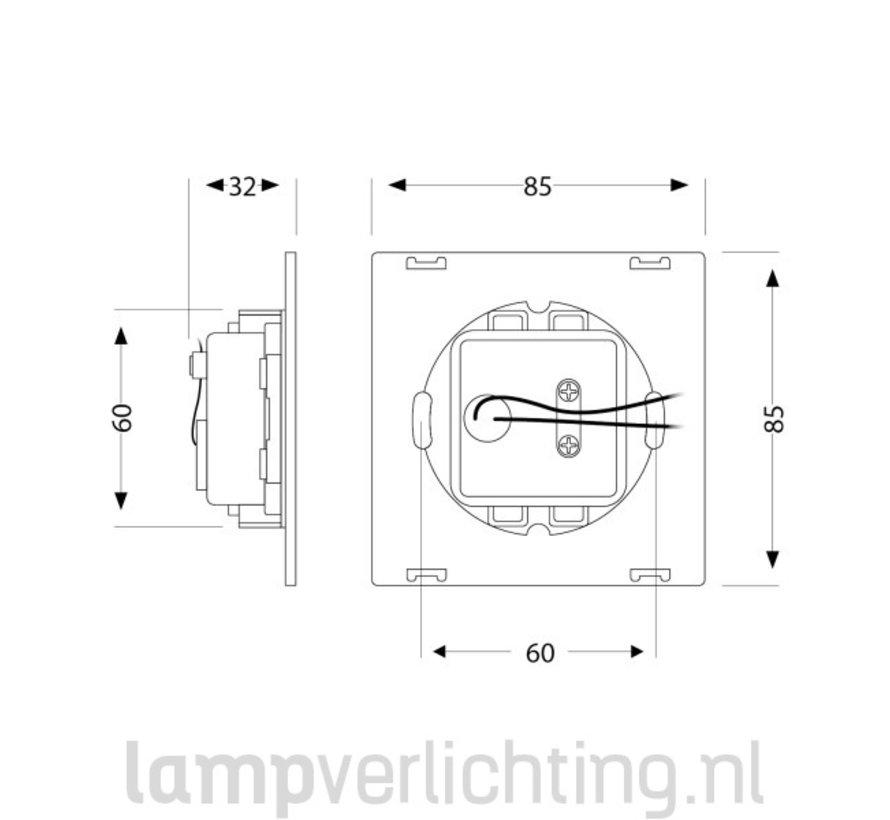 Vierkante Inbouwspot 230V voor inbouwdoos