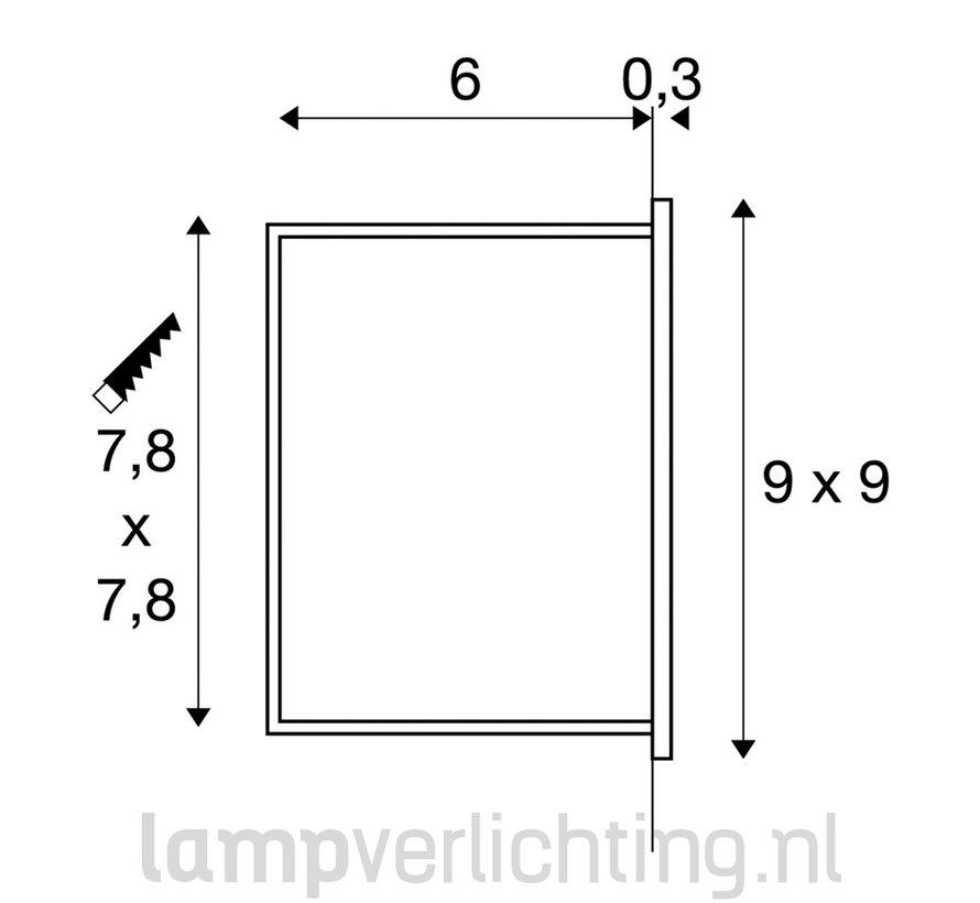 Wand Inbouwspot Vierkant 230V