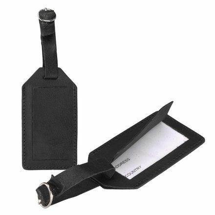 HJ de Rooy Leren kofferlabel zwart 5000 Z