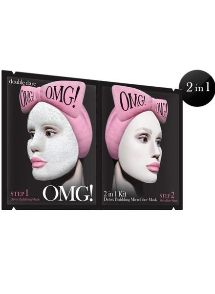 double dare OMG! 2 in 1 Kit Detox Bubbling Microfiber Maske Einzelpackung