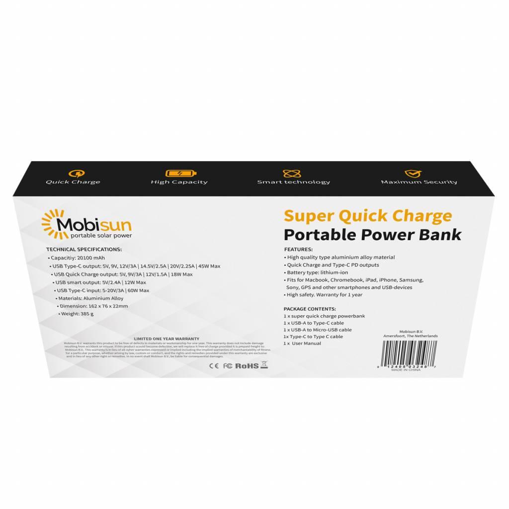 Mobisun MacBook Powerbank USB Typ-C PD Energienbank 45W / 20100 mAh / 74 Wh Mobisun
