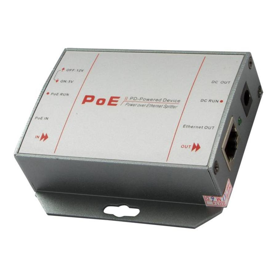 PoE-S2 - Power-over-Ethernet splitter met 5volt / 12volt schakelaar