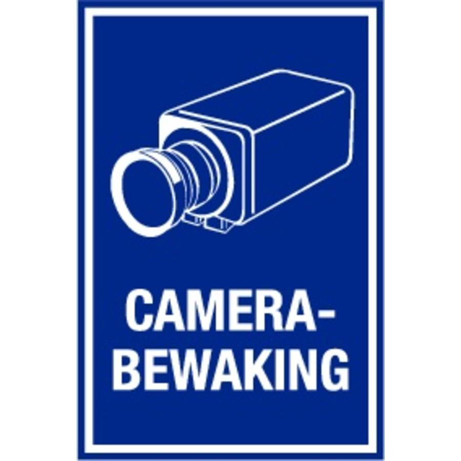 "Bord ""camerabewaking"" 20 x 30 cm - Blauw/wit"
