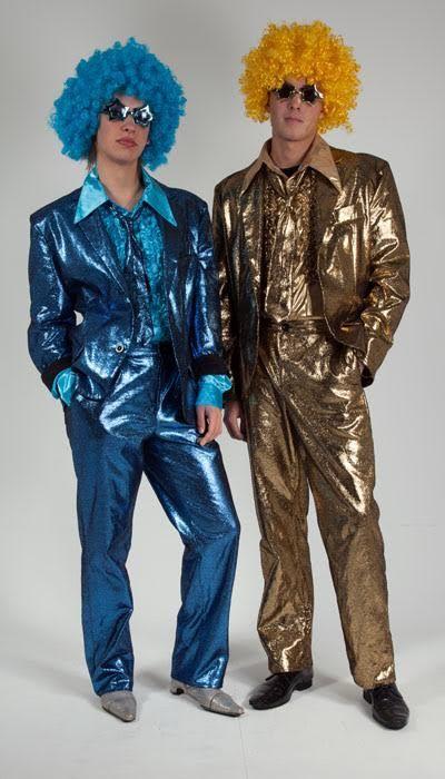 Glitterpak in blauw en goud huren
