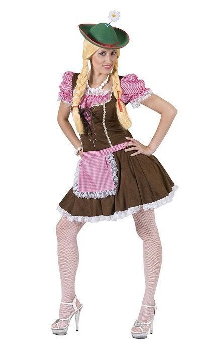Dirndl jurk roze/bruin  VERKOOP