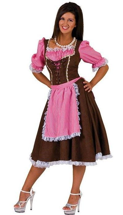 Dirndl jurk roze/bruin lang