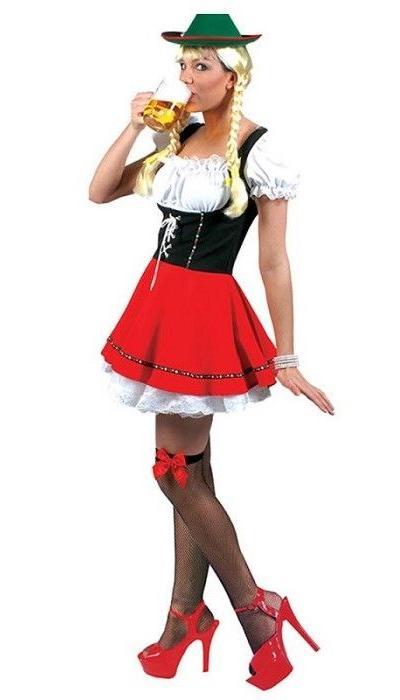 Dirndl jurk zwart/rood  VERKOOP