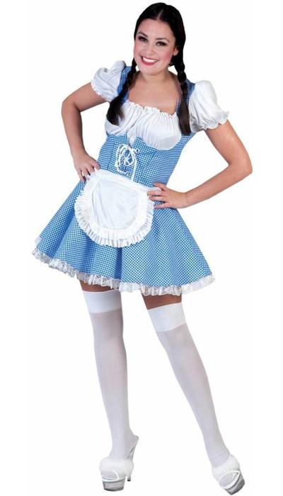 Dirndl jurk blauw/wit  VERKOOP