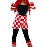 koop Geblokte korte carnavals broek rood wit