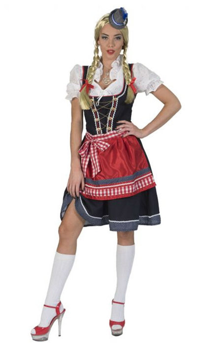 Tirol blauw/rood jurkje verkoop