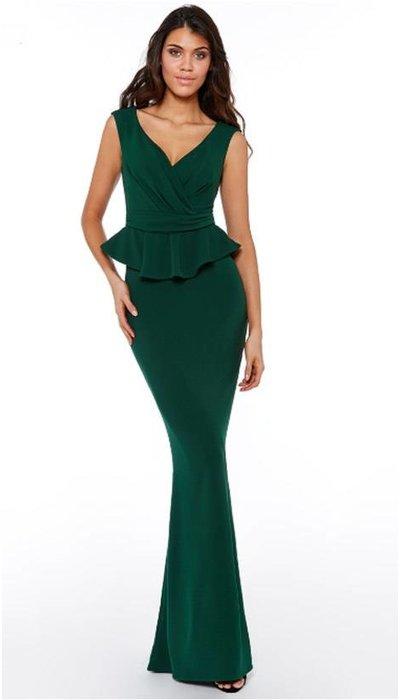 Groene aangesloten jurk 201905