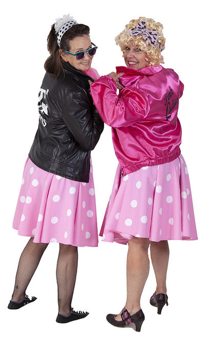 Pink lady kostuum en T-bird kostuum