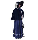 Dickens dames kostuum in blauw