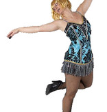 Blauwe burlesque jurkje huren - 251