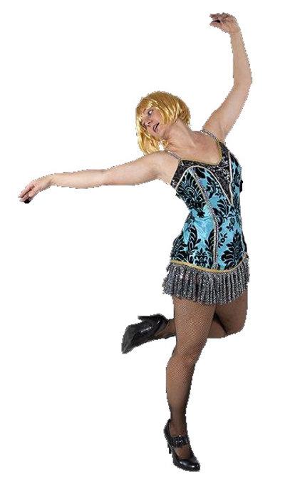 Blauwe burlesque jurkje huren