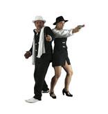 Gangster krijtstreep kostuum huren - 315