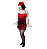 Rood burlesque jurkje huren - 250