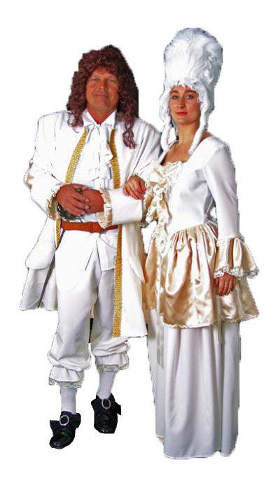 Witte rococo kostuums