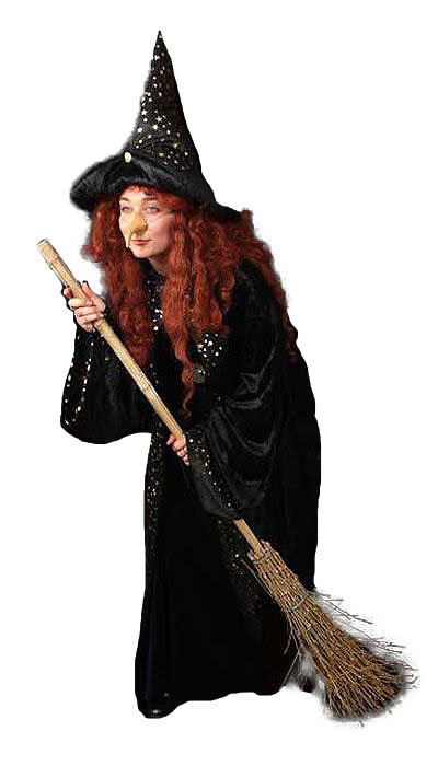 Heksen kostuum met bezem