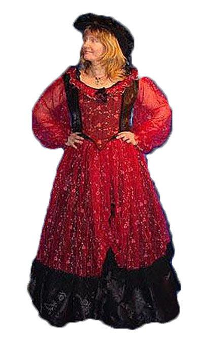 Rode historische jurk - 334