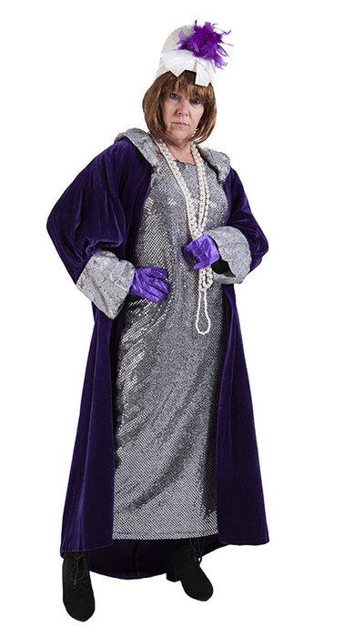 Paarse jugendstil jurk huren