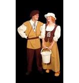 Middeleeuwse boer en boerin kostuum huren - 224