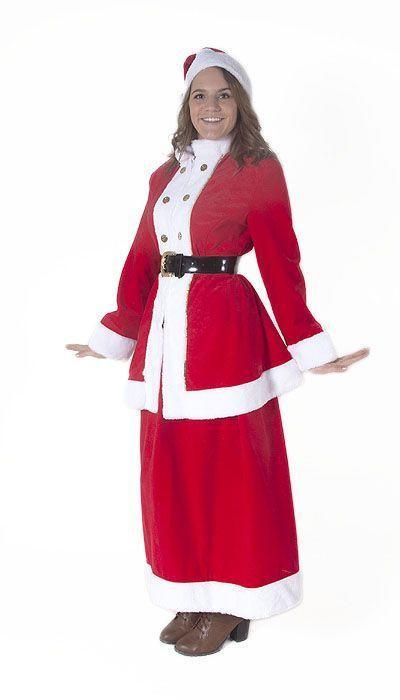 Klassiek kerstvrouw kostuum met lange rok