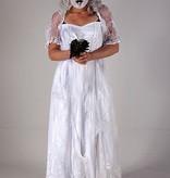 Horror bruid met bruidsjurk en boeket