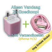 set 220V lader + 1 meter iPhone 4(S) kabel roze