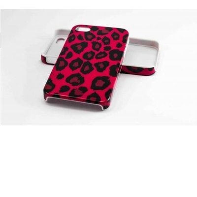 Iphone 4 (S) roze panterprint hardcase hoes