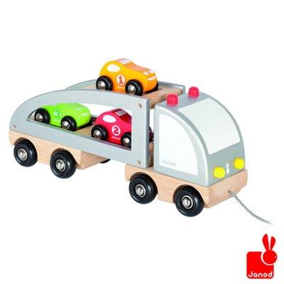 Janod trekfiguur-vrachtwagen-3-auto